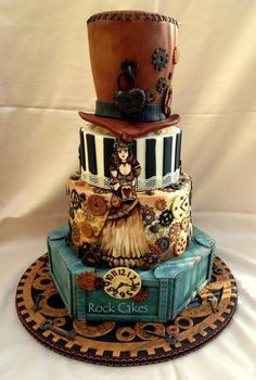 Steampunk Wedding Cake - by RockCakes @ CakesDecor.com - cake decorating website