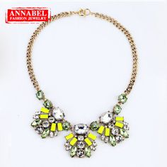 Shourouk!!Luxury Fashion Neon Color Crystal Choker Necklace, Statement Jewlery Vintage Rhinestone Necklace for Women NN03