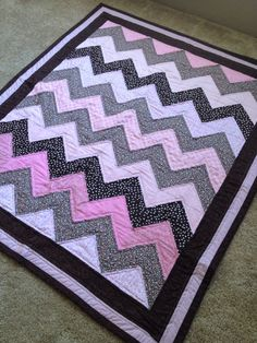 Chevron Baby Quilt for Baby Girl in Pink and by DesignerNursery