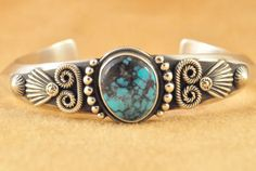 Wendell-Howard-S-Silver-Handmade-Navajo-Cuff-Bracelet-China-Mountain-Turquoise
