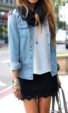 Not a fan of denim button down but kinda like this look! Light denim button down and black lace skirt Look Camisa Jeans, Look Fashion, Womens Fashion, Fashion Trends, Spring Fashion, Teen Fashion, Fashion Ideas, Fashion Clothes, Runway Fashion