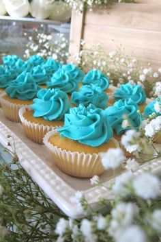 Blue cupcakes at a hot air balloon baptism party! See more party planning ideas at CatchMyParty.com!