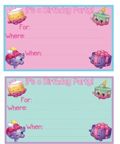 Free printable Shopkins birthday party invitation by Mandy's Party Printables