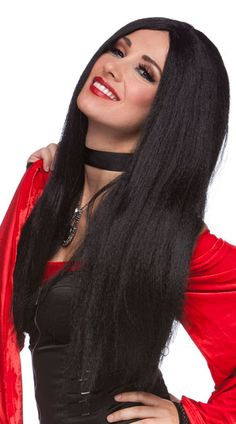 This fun black wig features a center part and a long straight style. (Wig only.) Budget Witch Wig, Black Witch Wig, Long Black Wig