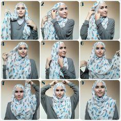 1. Letakkan shawl yg satu lebih pendek 2. Ambil sisi lebih pendek, bawa ke arah telinga 3. Sematkan di atas telinga 4. Pegang ujung sisi panjang 5. Tarik ke bawah supaya kencang, sematkan dengan jarum 6 dan 7. Bawa sisi panjang ke depan dada, teripuskan sampai ke atas kepala 8. Sematkan dengan jarum 9. Done :) #hijabtutorialbyzahra