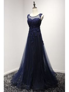 Navy A-line Scoop Neck Floor-length Tulle Prom Dress With Beading