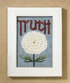 """DM307101 - Truth (2007) - Mill Hill - Debbie Mumm Kits - Words For Life Kit Includes: Beads, 16ct Aida fabric, floss, needles and instructions.  Mill Hill frame GBFRM17 sold separately Size: 4.5"""" x 6.5"""""""