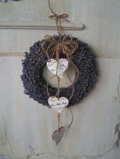 Levendula koszorú 3db  szívvel., Dekoráció, Otthon, lakberendezés, Ünnepi dekoráció, Meska