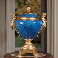 lovely blue and gold urn