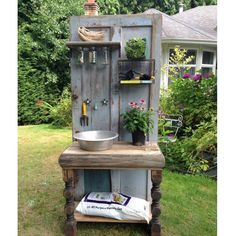 country living instagram photo - This #DIY one-of-a-kind potting bench by @alteredolives is made from an old wooden door and other salvaged items #GardeningGoals  https://instagram.com/p/32HyVLGMwA/ via bHome https://bhome.us