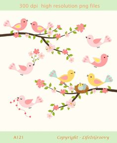 love birds spring flowering cherry tree branch pink blossoms cute nest A121- unique clipart for do it yourself invites creative projects. $5.95, via Etsy.