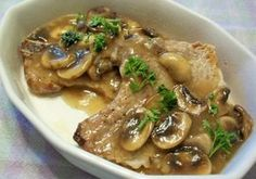 Pork Chops in Mushroom and Shallot Sauce.totally amazing and delicious. We used thickly sliced pork tenderloin from the freezer. We served with roasted brussels and roasted turnips, both of which were delicious! Pork Chop Recipes, Meat Recipes, Low Carb Recipes, Real Food Recipes, Cooking Recipes, Healthy Recipes, Roast Pork Chops, Smothered Pork Chops Recipe, Turkey Dishes