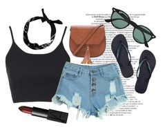 """""""<3"""" by ellamutton on Polyvore featuring Topshop, WithChic, Havaianas, Forever 21, Ray-Ban, NARS Cosmetics, women's clothing, women, female and woman"""