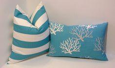 Nautical blue pair decorative pillow covers beach decor teal blue home decor