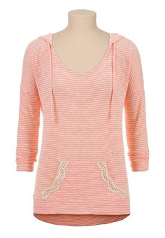 Lightweight striped slub knit hoodie at www.maurices.com