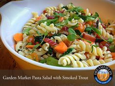 Garden Market Pasta Salad with Smoked Trout. Great tasting healthy pasta. Dreamfields Pasta has 5 grams of fiber, 7 grams of protein and a prebiotic fiber to help promote healthy digestion.