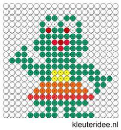 Kralenplank kikker, kleuteridee.nl / Kralenplankje kleuters / Beads patterns preschool