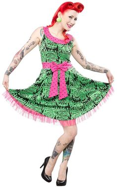 Green Melting Monsters Dress from Sourpuss Clothing (L)