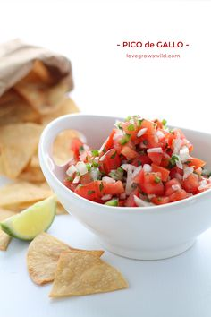 Pico de Gallo ~fresh, easy, and healthy, too, this recipe is perfect for snacking or as a side with your favorite Mexican dishes! | LoveGrowsWild.com