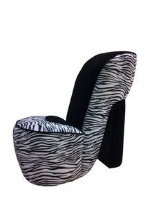 Zebra Shoe Chair.   Lol jaz carlos would love this lol