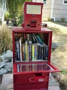Little Free Library in an old newspaper dispenser.