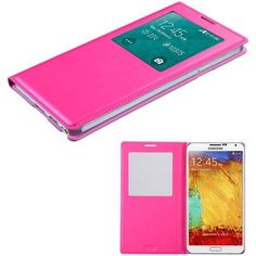 Book-Style Smart Cover w/ IC Chip Samsung Galaxy Note 3 Case -Hot Pink