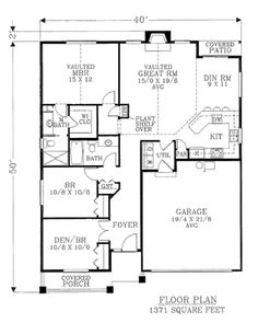 This cottage design floor plan is 1371 sq ft and has 3 bedrooms and has 2 bathrooms. Cottage Style House Plans, Cabin House Plans, Simple House Plans, Duplex House Plans, Family House Plans, Beach Cottage Style, Craftsman Style House Plans, Cottage Style Homes, Cottage Design