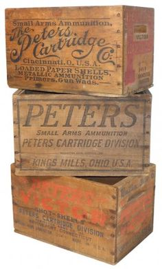 Ammunition Boxes All Peters, All Wood, Vintage Wood Crates, Wooden Crate Boxes, Old Crates, Vintage Cabin, Vintage Box, Vintage Labels, Wine Crates, Old Boxes, Ammo Boxes