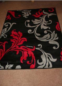 Red, grey,& black floral rug