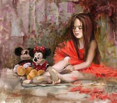 """""""Before the Lesson"""" by Irene Sheri   Disney Fine Art   Mickey Mouse and Minnie Mouse"""