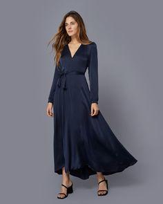 The Elsa Dress Washed Navy Silk