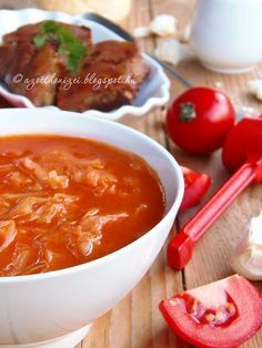 Home tastes: Tomato cabbage Hungarian Cuisine, Hungarian Recipes, Hungarian Food, Main Dishes, Side Dishes, Vegan Recipes, Cooking Recipes, Vegan Menu, Root Veggies