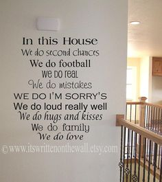 CUSTOMIZE In this House we do second chances 22x20 Vinyl Lettering Wall Saying-Unlimited Items ship for 3.50