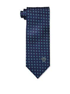 Versace Men's Floral Tie, Blue