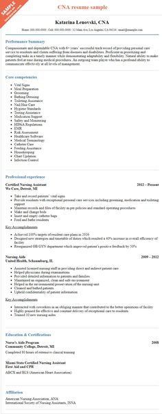 Nursing Assistant Objective For Resume Simple Resume Sample  Cna  Pinterest