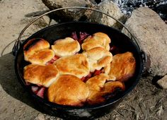 """Who can pass up """"better than Mama's"""" strawberry cobbler?  ESP when its made over a campfire?!  Not me... Can't wait for some cold campin' and cobbler cookin' this winter!"""