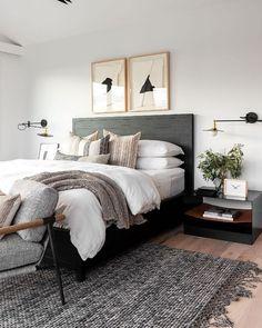 Instagram Cheap Bedroom Decor, Room Ideas Bedroom, Bedroom Inspo, Home Decor Bedroom, Bedroom Interior Design, Black Bedroom Furniture, Modern Bedroom Design, Art For Bedroom, Grey Wall Bedroom