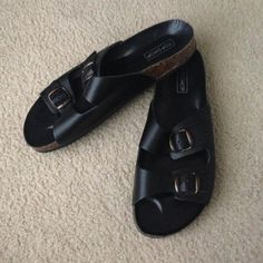 Topshop Birkenstock look alike sandal slides Purchased from Topshop. Marked as size 11, but these are a bit too small for a size 11, so I have listed them as size 10.5. Would be suitable for size 10-10.5. Worn outside once, and the rest of the time I have worn it indoors....very minor signs of wear are shown in the pictures. Otherwise it is in very good condition and super cute! Topshop Shoes Sandals