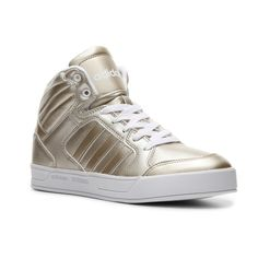 adidas NEO Raleigh High-Top Sneaker Womens ($65) ❤ liked on Polyvore featuring shoes, sneakers, metallic high tops, pointy shoes, hi tops, metallic high top sneakers and metallic shoes