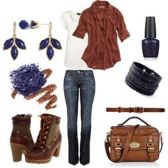 Love the blue and browns in this casual outfit.  40+ 50+ 60+ midlife chic/ style/ fashion