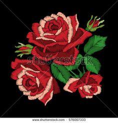 Вышивка красные розы на черном