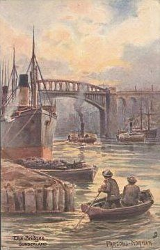 16) Raphael Tuck No. 1658. By artist Parsons Norman. Two men in boat in foreground with coal barge and two paddle steamers in the river. Dated? It helps to know that 'Parsons Norman' seems to be, in full, George Parsons Norman (1840-1914). A similar card, in a larger size, can be seen by clicking the image.