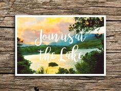 At the Lake Postcard Save the Date // Join Us at the Lake Save the Dates Postcards Bohemian Boho Sunset Outdoorsy Script Wedding Post Cards