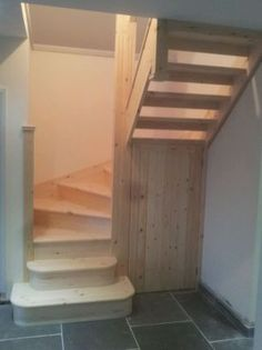 30 Awesome Loft Staircase Design Ideas You Have To See Small Staircase, Loft Staircase, Basement Stairs, House Stairs, Staircase Design, Cottage Staircase, Stairs Into Attic, Space Saving Staircase, Garage Stairs
