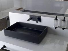 SoloTu Waschtisch Wandarmatur schwarz, art. 13297+38688.299 (Auslauflänge 140mm) - art. 13297+38689.299 (Auslauflänge 200mm)