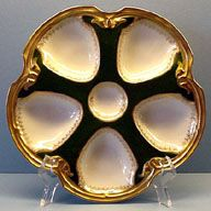 Black, White & Gold Limoges Oyster Plate