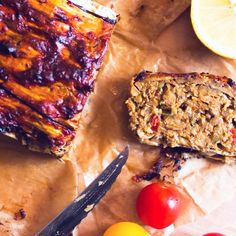 Green lentils loaf covered with eggplant &chipotle marinade baked in oven! #glutenfree#vegan