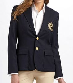 The Prep School Trend Every Cool Girl is Wearing  Ralph Lauren Blue Label  Custom Wool Crested Blazer ($698) in Greenwich  Rewrite the book on country club chic by pairing this blazer with denim shorts and a vintage tee.