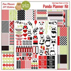 Planner Kit! Panda Printable Planner Kit Happy Planner size 1.5x2.5 Boxes Red & Black 5 PDFs
