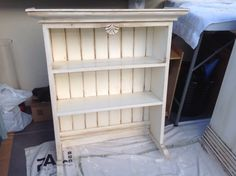 Top hutch painted by Margaret Whitcher with old white chalk paint and finished with clear and dark wax.